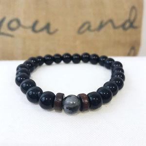 🎀 NEW Men's Bead Marble Stretchy Bracelet
